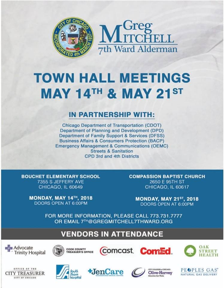 Alderman mitchell 7th ward townhall may 21st view flyer for Mitchell s fish market locations